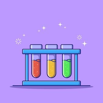 Matraz de tubo de reacción de química plana colorido aislado.