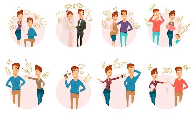 Matrimonio divorcio icons collection