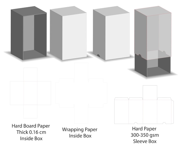 Matriz de la caja de la manga de la diapositiva del papel duro dieline