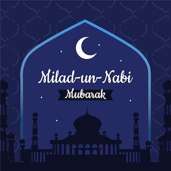 Mawlid milad-un-nabi saludo con mezquita y luna