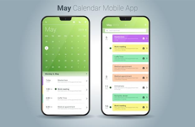 Mayo calendario aplicación móvil luz ui vector