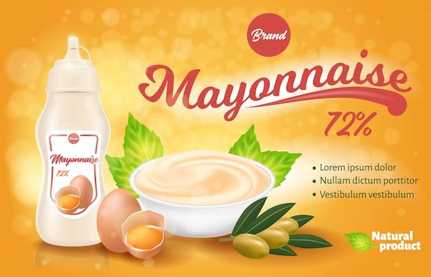 Mayonesa botella y plato con producto para la plantilla de empaquetado de la etiqueta