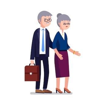 Mayor edad hombre de negocios y mujer pareja