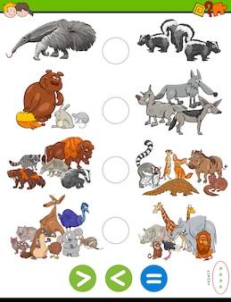 Mayor tarea menor o igual con animales salvajes