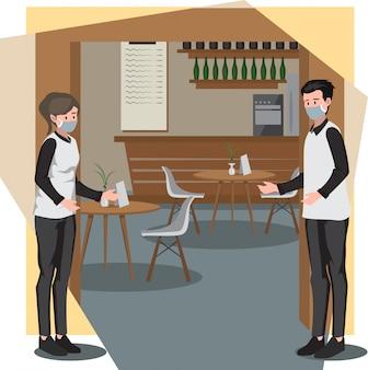 Mayordomo y camareros reciben a los clientes en la puerta del restaurante