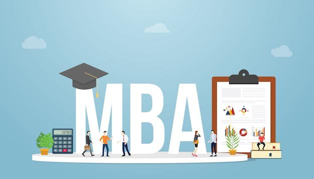 Mba maestro de administración de empresas concepto de educación grado de educación con personas del equipo con estilo plano moderno