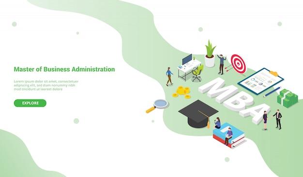 Mba maestro del concepto de administración de empresas para plantilla de sitio web o página de inicio isométrica