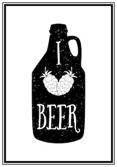 Me encanta la cerveza - cita fondo tipográfico