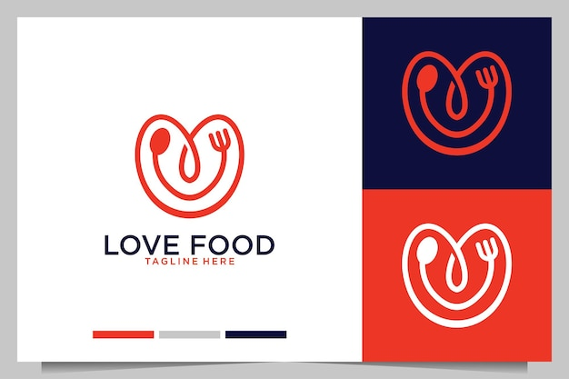 Me encanta la comida con diseño de logotipo de tenedor y cuchara