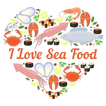 Me encanta el diseño del corazón del vector de mariscos para un cartel o tarjeta con calamares pescado langosta cangrejo sushi camarón langostino mejillón filete de salmón hierbas y especias y copyspace central