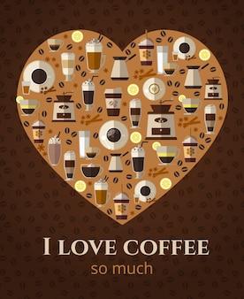 Me encanta el letrero de café en forma de corazón. americano y capuchino, bebida espresso, taza caliente
