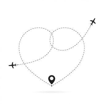 Me encanta la ruta del avión. viajes románticos, trazos de líneas discontinuas y rutas en avión. camino de aviones de corazón