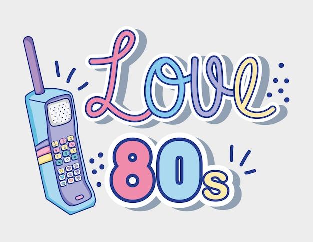 Me encanta el teléfono móvil de dibujos animados de los años 80