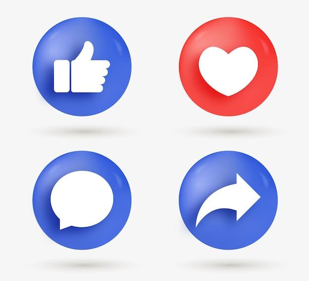 Me gusta los botones de compartir comentarios de amor en estilo moderno: iconos de notificación de redes sociales 3d