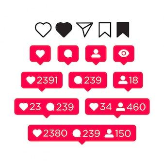 Me gusta, comentario, seguidor y conjunto de iconos de notificación. concepto de redes sociales para la interfaz. ilustración aislada en blanco