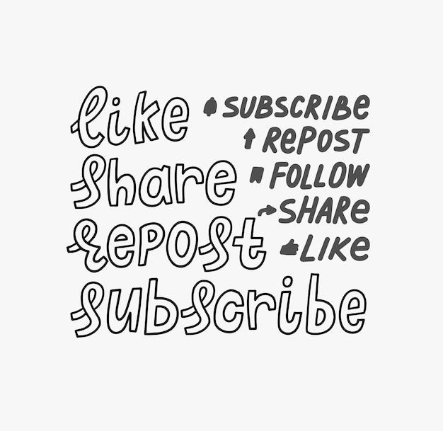 Me gusta compartir volver a publicar suscribirse siga las pegatinas de letras de mano de doodle. cita suscríbete al canal, blog. ilustración de redes sociales.