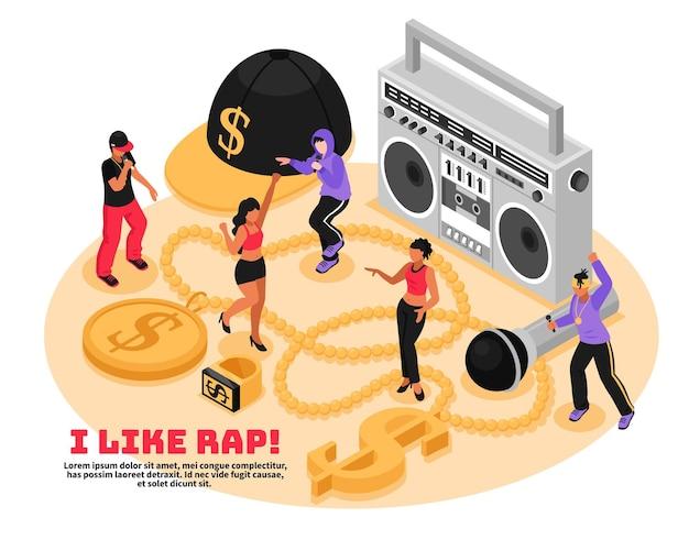 Me gusta el concepto retro de rap con reproductor de cassette, micrófono cantando y bailando adolescentes isométricos