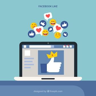 Me gusta de facebook con dispositivo electrónico