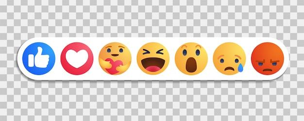 Me gusta en facebook botón redondo amarillo de dibujos animados reacciones empáticas de emoji con nueva reacción de cuidado