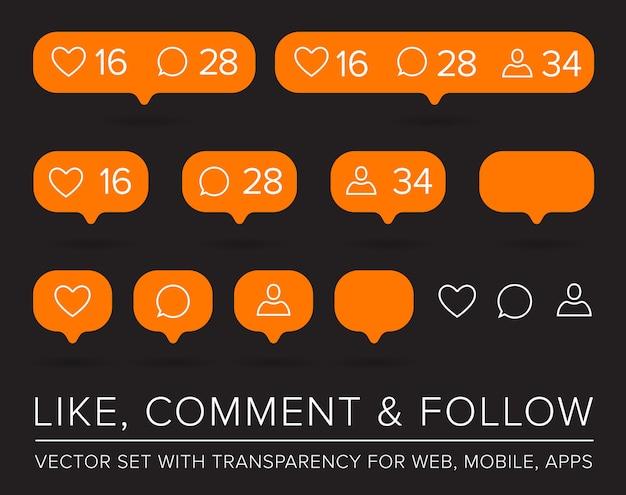 Me gusta, seguidor, conjunto de iconos de comentario