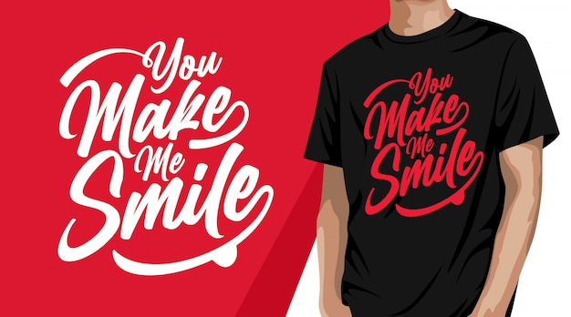 Me haces sonreír diseño de camiseta de tipografía.