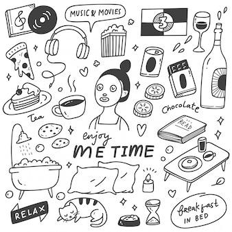 Me ilustración de doodle de concepto de tiempo