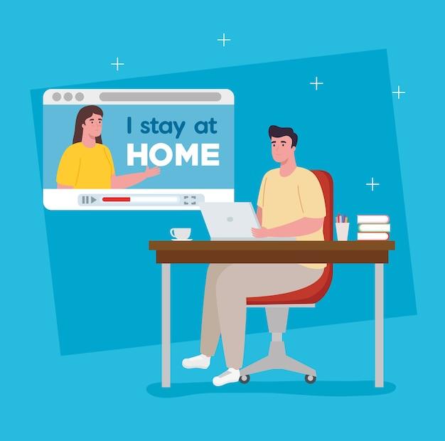 Me quedo en casa, pareja en videoconferencia para teletrabajo.