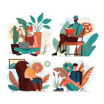 Me tiempo personas actividad con ilustración de fondo de plantas
