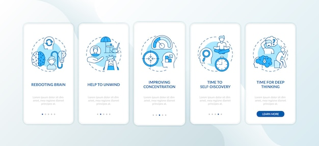 Me time se beneficia al incorporar la pantalla de la página de la aplicación móvil con conceptos