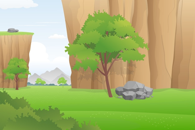 Meadow and cliff landscape, lush canyon vector illustration