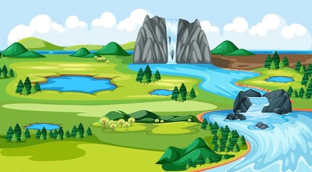 Meadow park con agua caída escena del paisaje del lado del río