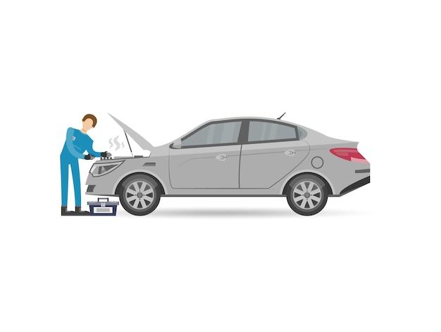 Mecánica de automóviles en icono de motor de reparación uniforme