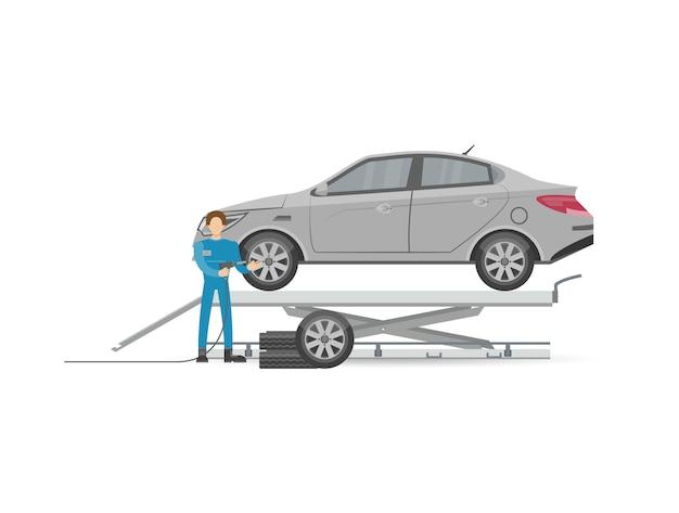 Mecánica de automóviles en icono uniforme
