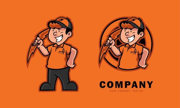 Mecánica eléctrica sosteniendo el logo de la mascota del rayo.