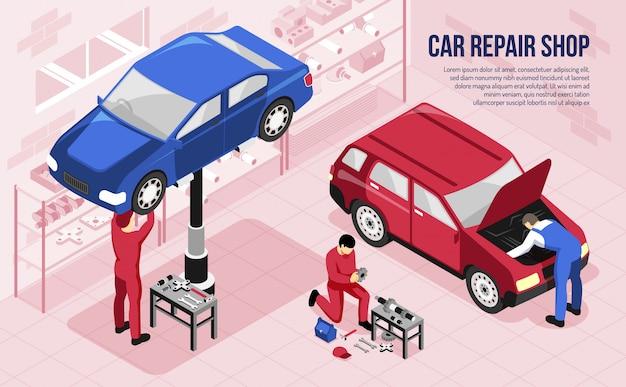 Mecánica con herramientas profesionales durante el trabajo en taller de reparación de automóviles horizontal isométrica