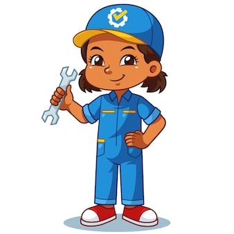 Mecánico girl holding wrench listo para la fijación.