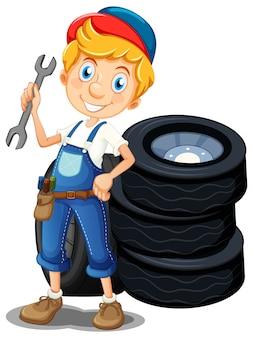 Mecánico con herramientas y neumáticos.