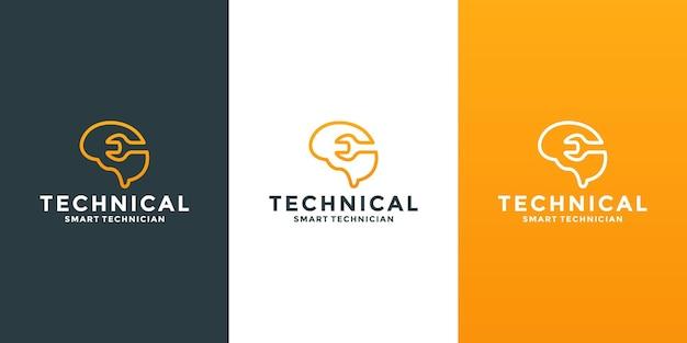 Mecánico inteligente, diseño de logotipo técnico. llave inglesa con cerebro