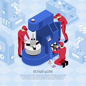 Mecánicos en uniformes rojos durante el trabajo de reparación en máquina herramienta en taller isométrico