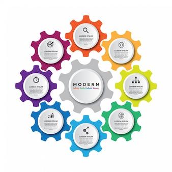 Mecanismo empresarial plantilla de diseño infográfico.