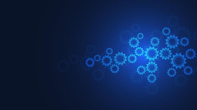 Mecanismos de engranajes y piñones. tecnología e ingeniería digital de alta tecnología. fondo técnico abstracto.