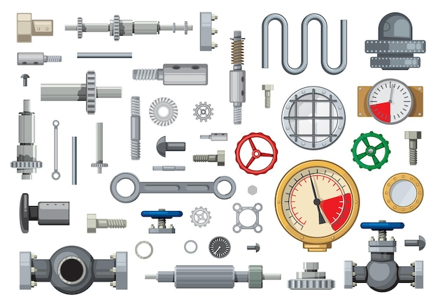 Mecanismos de piezas de repuesto y elementos de la industria de ingeniería conjunto de dibujos animados. engranajes helicoidales, cónicos y helicoidales, válvulas de compuerta de tuberías, manómetros y pasadores de pistón, cilindros hidráulicos, pernos y juntas