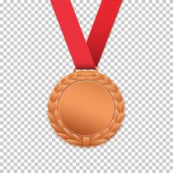 Medalla de bronce aislada sobre fondo transparente.