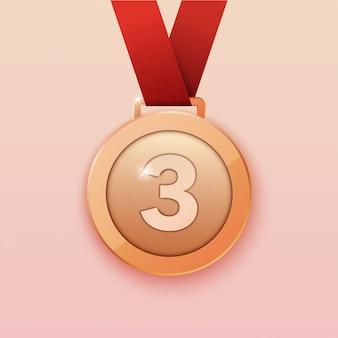 Medalla de bronce para el tercer premio. ilustración.