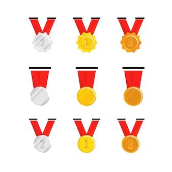 Medalla de campeón con cinta roja