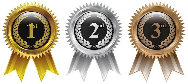 Medalla de los ganadores oro plata bronce