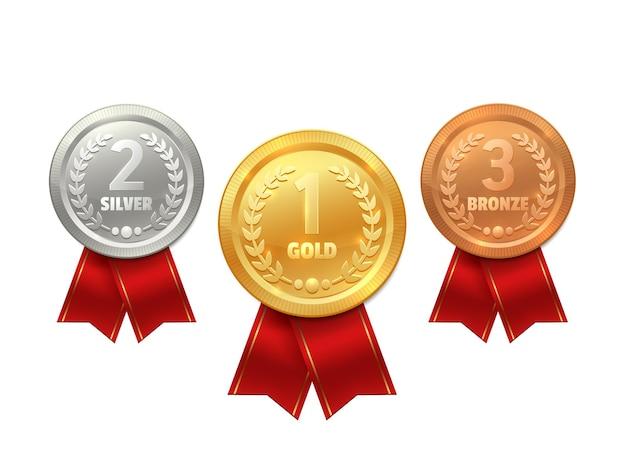 Medalla con los iconos de la cinta del premio deportivo
