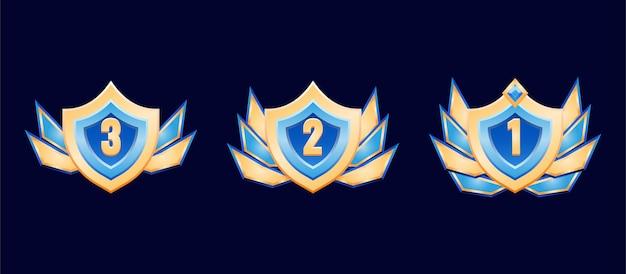 Medalla de insignia de rango de diamante dorado de escudo de fantasía con alas para elementos de activos de interfaz gráfica de usuario