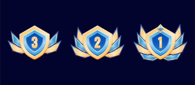 Medalla de insignia de rango de diamante dorado de escudo redondeado de fantasía con alas para elementos de activos de interfaz gráfica de usuario