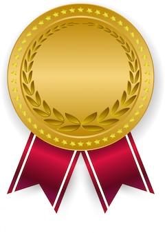 Medalla de oro 3d en blanco y cinta roja.